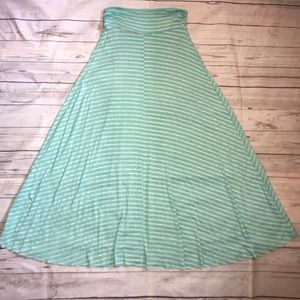 mint green / Aqua and cream maxi skirt